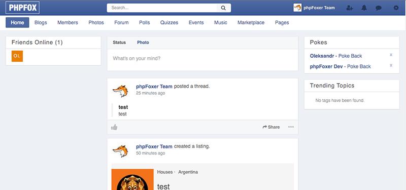 Facebook style theme